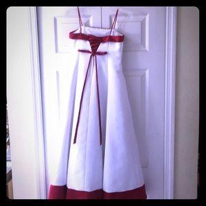 David's Bridal Girl's Formal Gown White & Cherry